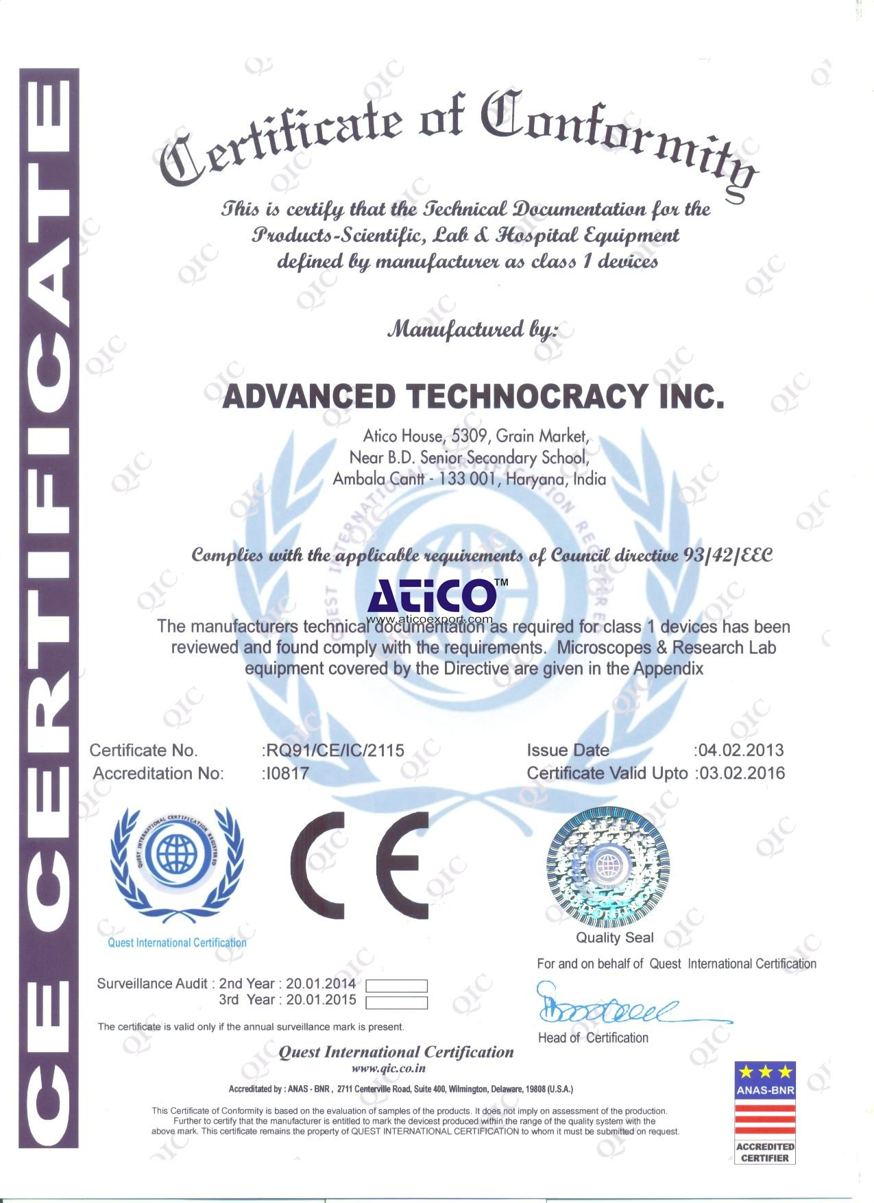 Atico Export Certified Instrument Manufacturers